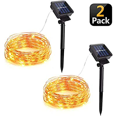 KANYEE Solar Powered Fairy String Lights Outdoor Waterproof Garden Patio Yard Fence Wall Tree Party Decorative 39ft 100 LED Copper Wire Bendable Flexible Starry Lights