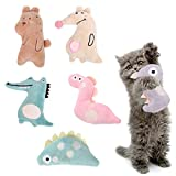 Broadsheet Cat Toys Kitten Toys, Catnip Toys Interactive Toys for Indoor Cats Cat Kicker Toy Purring Cat Toy, Animal Shapes(6 Packs)