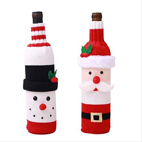 LUCKYYY Kerst decoratie fles sets wijn decoratie feestelijke arrangement zitten