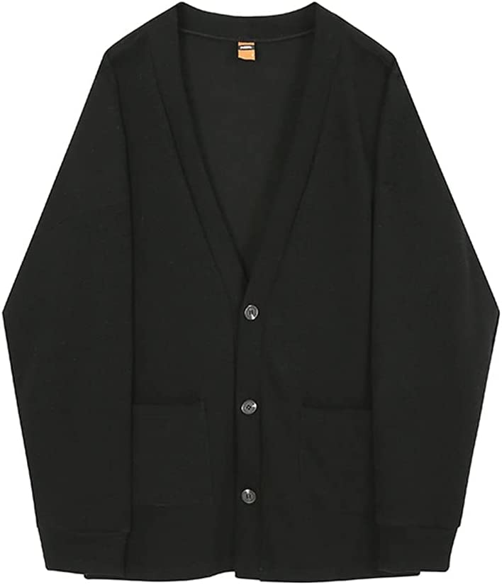 SLATIOM Cardigan Winter Man Sweaters Casual Loose Knitted Long Sleeve Harajuku Fashion Man Sweaters (Color : Black, Size : M Code)