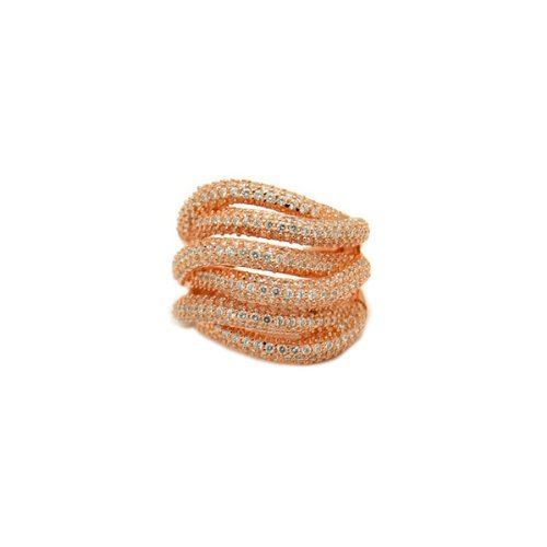 apop nyc Micro Pave CZ Rose Goldtone Sterling Silver Cocktail Ring Size 7 [Jewelry]