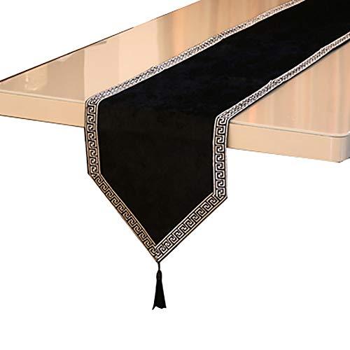 Chemin De Table en Dentelle avec Pompons, Table à Manger Comptoir De Bar, Meuble TV, Armoire De Véranda,(Color:F,Size:32×210cm)