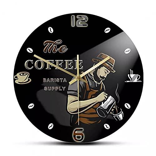 wszhh Reloj de Pared de Granos de café Barista Moderno Profesional, decoración...