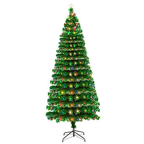 7FT Pre-Lit Fiber Optic Artificial Christmas Pine Tree with 260 LED Lamps & 260 Branches, Perfect for Indoor Holiday Decoration