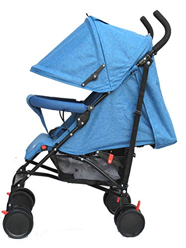 Buggy Stroller Travel Buggy Summer Blue Lightweight Pushchair for Kids Little Bambino ✨Extendable upf 50+ sun canopy and built-in sun visor ✨EASY USAGE - One-hand foldable buggy makes taking your baby for travels or walks a simple pleasure. It could stand on its own so you could take care of your baby with less things to worry about. ✨ADJUSTABLE BACKREST - Travel stroller backrest can be adjusted in sitting or reclining mode, also the footrest could be adjusted for baby need. Suitable for children from 0 to 36 months 3