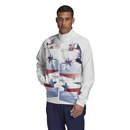 adidas mens USA Volleyball Warmup Jacket Men White/Navy/Team Power Red XX-Large