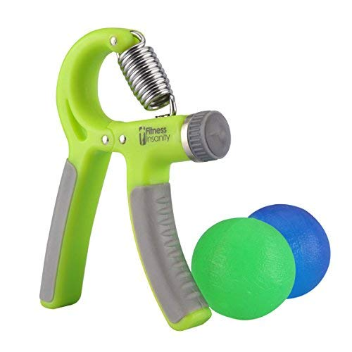 Hand Grip Strength Trainer Kit with 2 Hand Therapy Ball - Adjustable Resistance 22 to 88 Lbs - Non-Slip Gripper - Strengthening Exercises - Relieve Stress and Anxiety (Green Color)