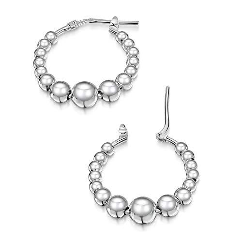 Amberta Damen Ringförmige Ohrringe aus 925 Sterling Silber: Creolen mit Kugeln
