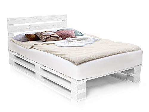 PALETTI Palettenbett inklusive Kopfteil Massivholzbett Holzbett Bett aus Paletten mit 11 Leisten, Palettenmöbel, 140 x 200 cm, Fichte Weiss