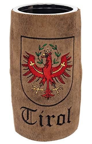 Bergheimer Enfriador de vino Tirol, funda de piel bordada, interior de cristal acrílico