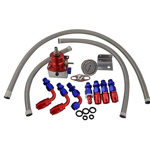 Regulador de presión de Combustible Ajustable Universal Aceite 160psi Gauge AN6 Kit de Conectores de regulador de presión Final Accesorios para automóvil (Color: Azul, Tamaño: Gratis)