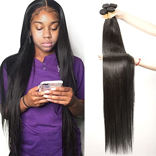 Malaysian Natural Black Straight 1/3/4 Bundle Deals 100% Human Hair Extension Remy Double Weave For Black Women Remy Hair 34 36 38 40