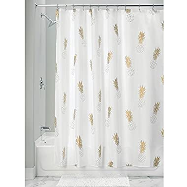 InterDesign Fabric Polyester Shower Curtain, 72  x 72  – Gold/White, Pineapple