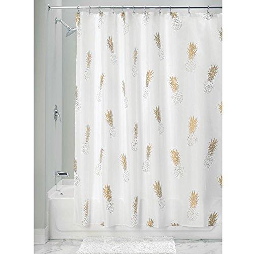 iDesign Novelty Poly moderner Duschvorhang mit Ananas-Motiv fürs Badezimmer, 183 cm x 183 cm Badewannenvorhang aus Polyester, goldfarben & weiß