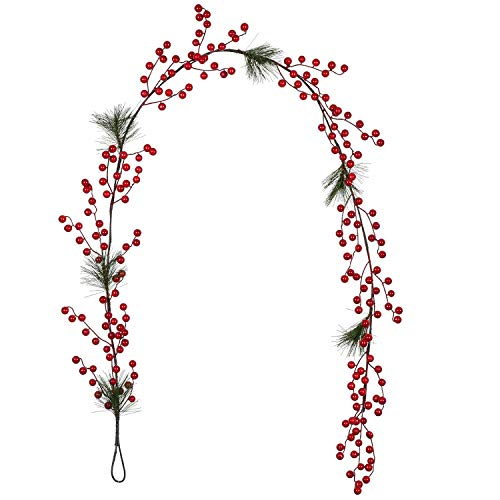 Artiflr 6FT Red Berry Christmas Garland, Artificial Red and Burgundy Berry Christmas Garland for Indoor Outdoor Home Fireplace Decoration for Winter Holiday