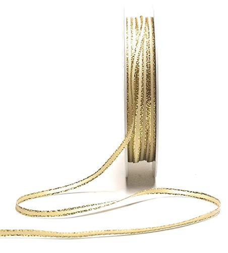 Konrad Arnold Satinband 50m x 3mm Creme - Gold Goldrand Dekoband Geschenkband Schleifenband