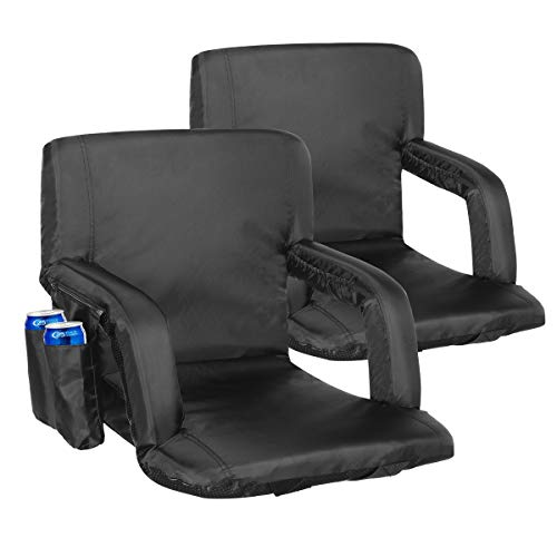 KingSo Stadium Seat 2 Set for Bleachers Portable Reclining Seat Floor Chairs with Back Support Padded Cushion Shoulder Strap 6 Reclining Position Water Resistant Ideal for Sports Games Beaches Camping
