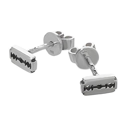 NKlaus Silber Paar große Ohrstecker 925er Sterlingsilber Ohrringe Klinge Rasierklinge 6184