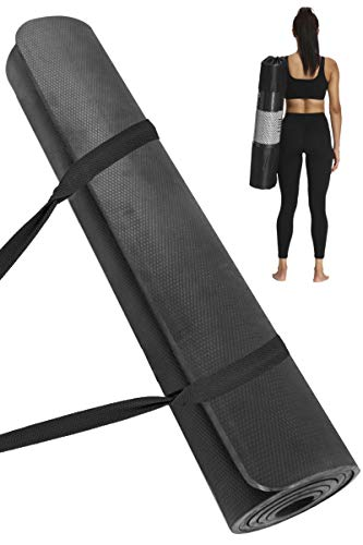 Yoga Mat Extra Thick amp Wide Non Slip Workout Fitness Home Exercise Mats for Women Men 72#039#039L x 32#039#039W x 2/5#039#039 Thickness (Black)