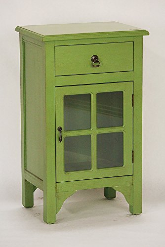 Heather Ann Creations Single Door/Drawer Wooden Cabinet with 4 Square Glass Inserts, 30
