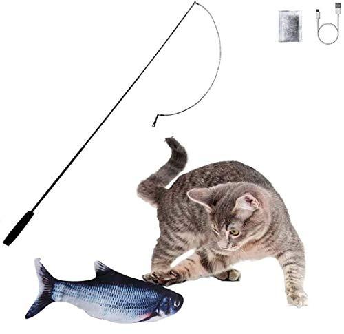 Robofish, Zuoox Robofisch Elektrische Sense Katzenspielzeug Katzenminze - Wiederaufladbar mit USB Kabel - Verschiedene Geschwindigkeitsstufen, mit Spielangel, für Katze zu Kauen, Beißen, Spielen