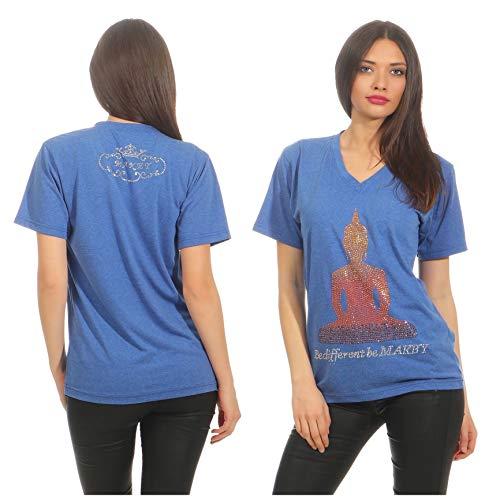Makey Damen T-Shirt Shirt V Neck Blau Gitzersteine Damenshirt M L XL Buddha (L)