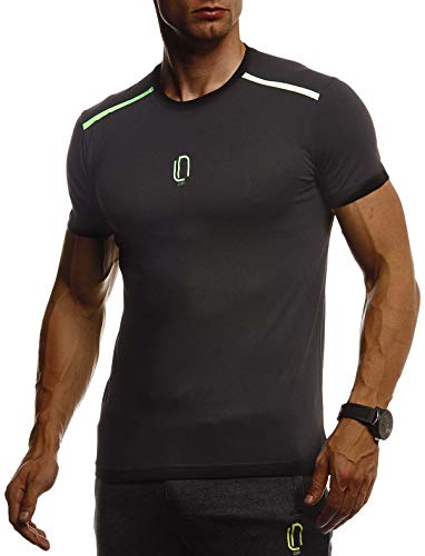 Leif Nelson Gym Herren Fitness T-Shirt Slim Fit Moderner Männer Bodybuilder Trainingsshirt Kurzarm Top Herren Sport T-Shirt - Bekleidung für Bodybuilding Training LN8320 Schwarz-Grau Small