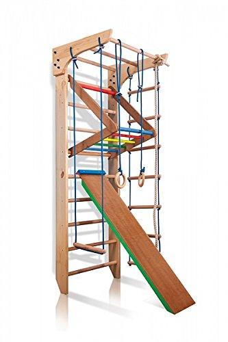 Turnwand Kinder Gym Klettergerüst ˝Kinder-3-220-Farbe˝ Holz Sportgerät Kletterwand Sprossenwand mit Stange Fitness