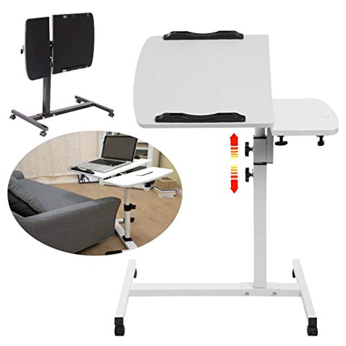 Laptop Desk Table for Bed Sofa Couch, Foldable Laptop Table - Adjustable Height Office Table, Rolling Computer Desk Portable Side Table with Mouse Tray - White