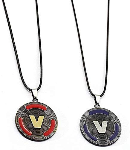 Yiffshunl Collar Moda 1 Pieza Juego PS4 V Pieza Collar Aleación de Metal Diseño de Cadena de Cuero Colgante Redondo Joyería de Moda para Mujer