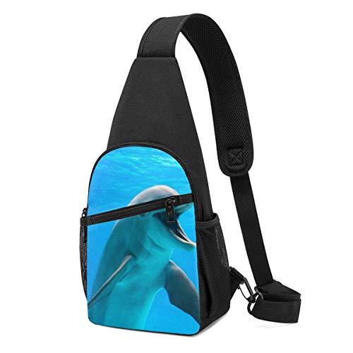 Happy Dolphin Daypack Sling Backpack,Lightweight Shoulder Chest Backpack Sports Bag Crossbody Shoulder Bag