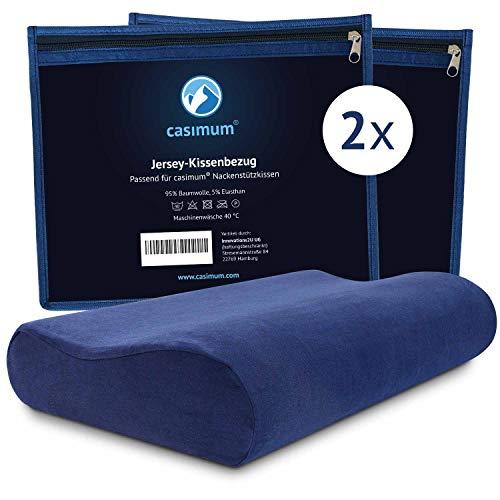 casimum Jersey Kissenbezug aus Baumwolle für Nackenstützkissen mit Reißverschluss - Abnehmbarer Schonbezug Kopfkissen 60x30 cm, blau, 2-Pack