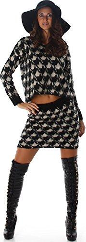 Jela London Damen Zweiteiler Set Pullover Rock Sweatshirt Kombination bauchfrei Hahnentritt Houndstooth Fransen flauschig (34/36/38), Schwarz