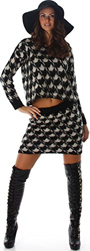 Jela London Voyelles Dames tweedelige combinatie Set Pullover & Rock Houndstooth Kraanentritt één maat (34/36/38)