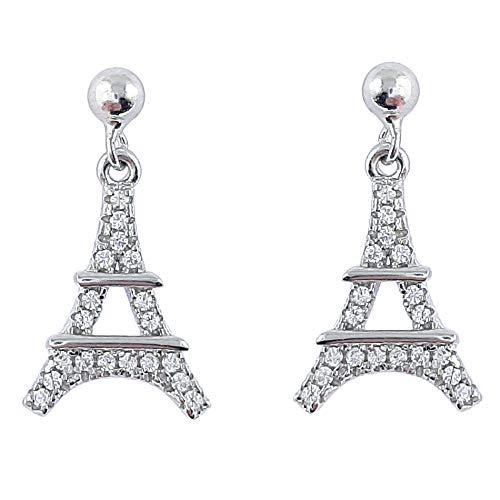 Damen-Ohrringe Eiffelturm aus rhodiniertem Sterling-Silber 925 und Zirkonia