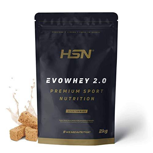 Concentrado de Proteína de Suero Evowhey Protein 2.0 de HSN | Whey Protein Concentrate| Batido de Proteínas en Polvo | Vegetariano, Sin Gluten, Sin Soja, Sabor Turrón, 2Kg