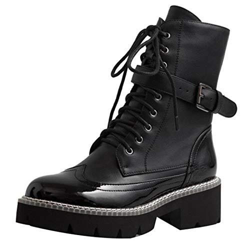 Shinelyf Classico Mujer Martin Botas Moda Largo Boots hasta La Rodilla Comodas Botines Ajustables Estables Buena Elasticidad,Short Without Velvet,38