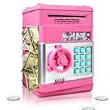 Surejoy Piggy Bank for Boys Girls, Large Electronic Real Money Coin Bank with Safe Password Lock, Auto Scroll Paper Money Plastic Saving Box Toy, Gift for 4 5 6 7 Years Old Kids (Pink)