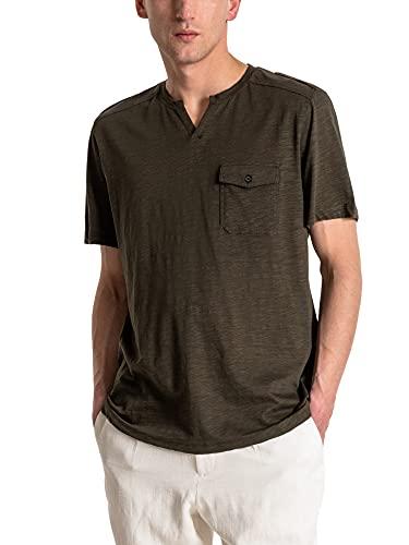 Antony Morato Camiseta Manga Corta Cuello Panadero Logo para Hombre Hombre Color: 4061 Verde Talla: M