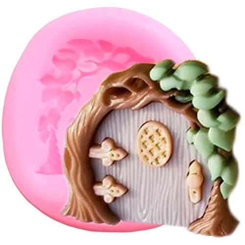 CSCZL Molde de Silicona para Puertas de jardín de Hadas DIY Fiesta Cupcake Topper Herramientas de decoración de tortas con Fondant Caramelo Arcilla Molde de Pasta de Goma de Chocolate