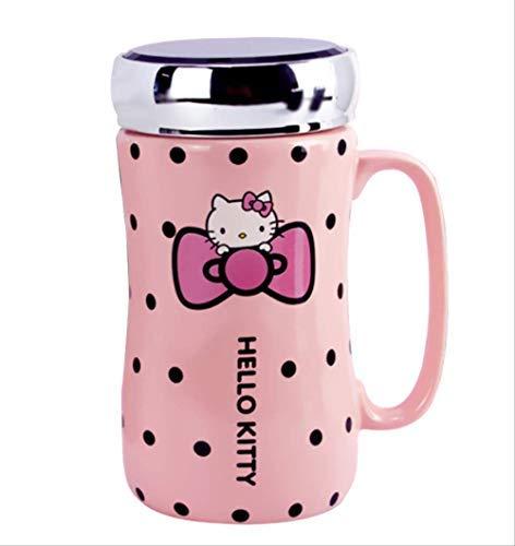 Dibujos Animados Hello Kitty Botellas De Agua De Cerámica Lady Girl 430ml Taza De Hervidor De Agua Con Tapa De Cuchara De Tapete Puede Usarse Como Espejo