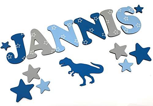 Holzbuchstaben, Holzbuchstaben Kinderzimmer-Tür Mädchen/Junge, 7cm, in vielen Farbkombinationen. Sterndesign. Inkl. Klebepads.