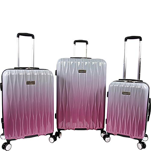Juicy Couture Women's Lindsay 3-piece Hardside Spinner Luggage Set, Silver Fuchsia, One Size