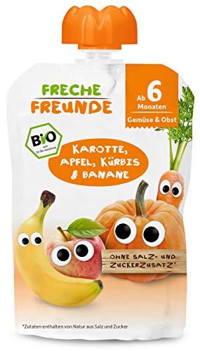 FRECHE FREUNDE Bio Beikost-Quetschie Karotte, Apfel, Kürbis & Banane, Babynahrung ab dem 6. Monat mit Gemüse, glutenfrei & vegan, 6er Pack (6 x 100g)