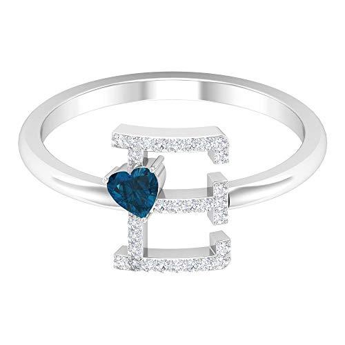 Anillo de diamante y topacio azul Londres 1/3 quilates, letra E, oro alfabeto joyería (3,5 mm en forma de corazón, topacio azul londinense), 14K Oro blanco, topacio azul - london, Size:EU 44