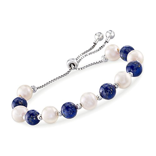 Ross-Simons Lapis and 8-9mm Cultured Pearl Bolo Bracelet in Sterling Silver