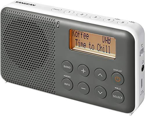 Sangean DPR-64 grey white Sangean DPR-64 DAB+, FM Radio, Alarm, Snooze, LCD Display, Stereo-Kopfhöreranschluss, eingebauter Stereo-Class-D-Verstärker grau-weiß