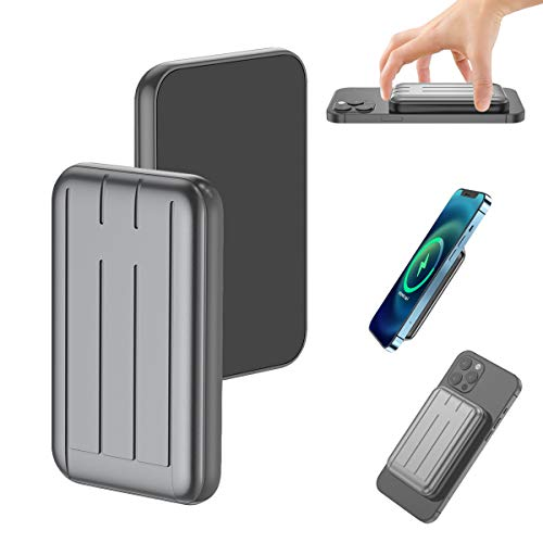 Mag-Safe Wireless Portable Fast Charger 15W Magnetic Power Bank 10000MAH USB C Back up Power Supply, Suitable for iPhone12 Mini Pro Max (Luxury Grey, 10000mah)