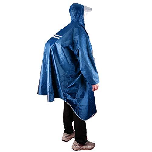 KRATARC Outdoor Rain Poncho Reflective Waterproof Raincoat Camping Hiking Cycling with Hood for Men Women Adult (Blue)