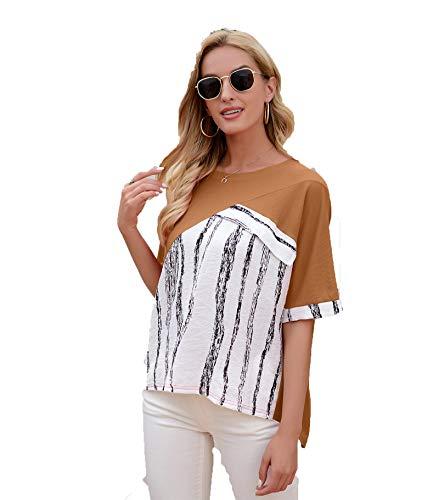 SLYZ Camiseta De Rayas De Tinta De Costura De Verano para Mujeres Europeas Y Americanas Blusa Suelta De Talla Grande para Mujer